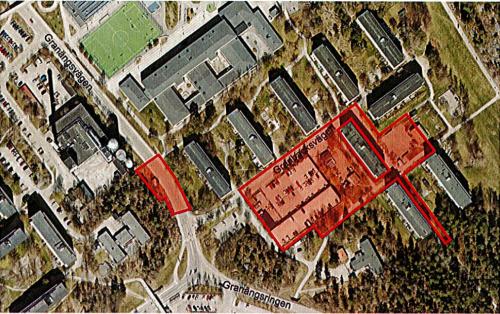Ungefärligt planområde för den nya detaljplanen, inom del av fastigheten Nyboda 1:17