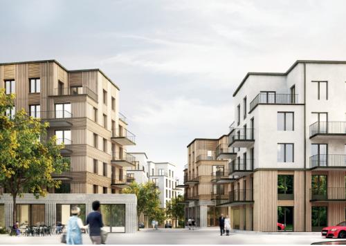 <span><span><span>Illustration över den östra bebyggelsen sett från infarten från Bäverbäcksvägen till </span><span>den nya gatuslingan kan gestaltas. Bilder från</span></span></span>Tobin Properties & Hermansson Hiller Lundberg Arkitekter.<div><span></span></div>