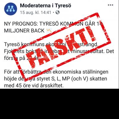 Moderaternas utspel om Tyresös kommun är felaktigt. Obs bilden är ett montage