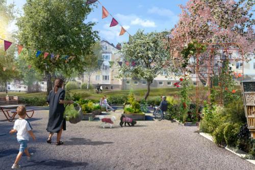 <span>Illustrations- och visionsbild över Tyresö Bostäders stadodling.</span>