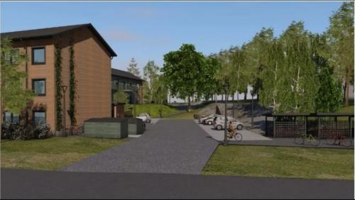 <span>Illustration över nybyggnation på Töresjövägen i Tyresö</span>