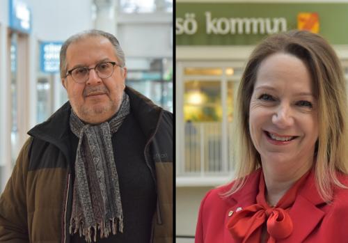 Fernando Pereira, ordförande LO-facken Haninge-Tyresö-Nynäshamn, och Anita Mattsson (S), kommunstyrelsens ordförande i Tyresö, är glada för kommunens arbete med upphandlingar.
