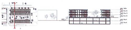 Sektion A-A över parkeringshuset med lägenheter ovanpå
