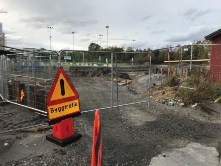 Byggarbetsplats för den nya ishallen